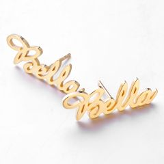 "Jeulia ""Love Yourself"" Personalized Name Stud Earrings"
