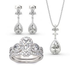 Jeulia Halo Pear Cut Sterling Silver Jewelry Set