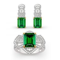 Jeulia Vintage Emerald Cut Sterling Silver Jewelry Set