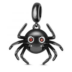 """What Do You Think Of Me"" Cute Spider 925 Sterling Silver Charm Pendant Black Plated"