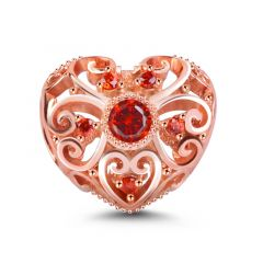 """""""Love You with All My Heart"""" 18K Rose Gold Plated Heart Shaped Personalized Birthstone Charm with Hollow Design Sterling Sliver"""