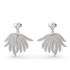 "Jeulia ""Rainforest Style"" Palm Leaf Design Sterling Silver Earrings"