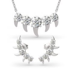 Jeulia Spike Design Round Cut Sterling Silver Jewelry Set