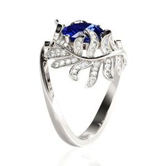Jeulia Leaves Cushion Cut Sterling Silver Ring