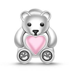 """ My Heart is Always with You"" 925 Sterling Silver Bear Charm"