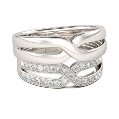 Jeulia Crossover Round Cut Sterling Silver Band Set
