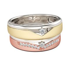Jeulia Two Tone Round Cut Sterling Silver Band Set