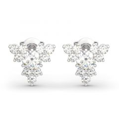 Jeulia Sparkling Cluster Round Cut Sterling Silver Earrings