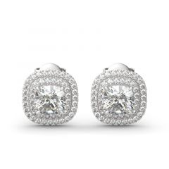 Jeulia Double Halo Cushion Cut Sterling Silver Stud Earrings