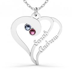 Jeulia Double Heart Family Necklace With Birthstones Sterling Silver