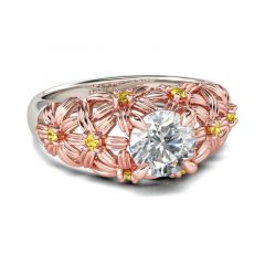 Jeulia Two Tone Flower Round Cut Sterling Silver Ring
