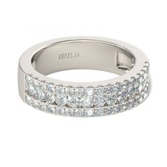 Jeulia Simple Round Cut Sterling Silver Women's Band