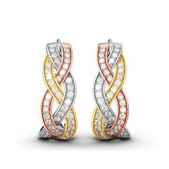 Jeulia Intertwined Tri-Tone Earrings